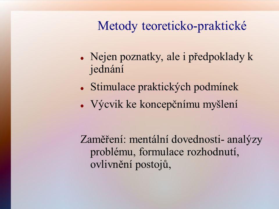 Metody teoreticko-praktické Nejen poznatky, ale i předpoklady k jednání Stimulace praktických podmínek Výcvik ke koncepčnímu myšlení Zaměření: mentáln