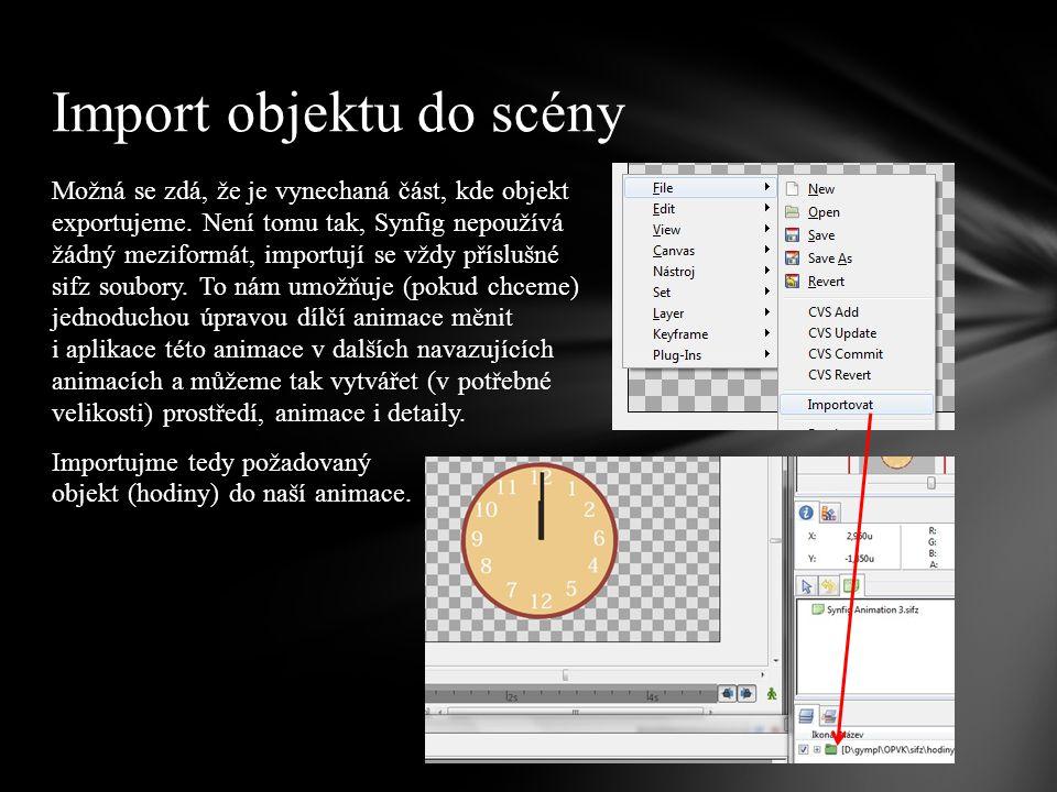 Vezměme nyní původní animaci (hodiny) a změňme nějakou vlastnost – například barvu ciferníku.