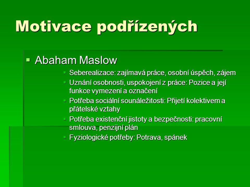 Motivace podřízených  Abaham Maslow  Seberealizace: zajímavá práce, osobní úspěch, zájem  Uznání osobnosti, uspokojení z práce: Pozice a její funkc