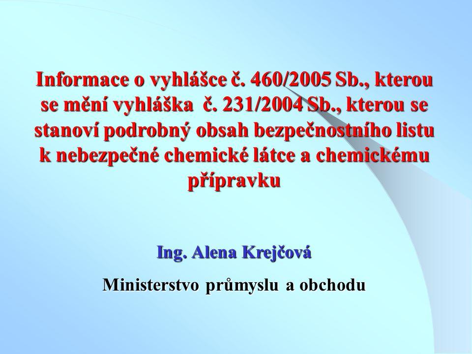 Informace o vyhlášce č. 460/2005 Sb., kterou se mění vyhláška č. 231/2004 Sb., kterou se stanoví podrobný obsah bezpečnostního listu k nebezpečné chem
