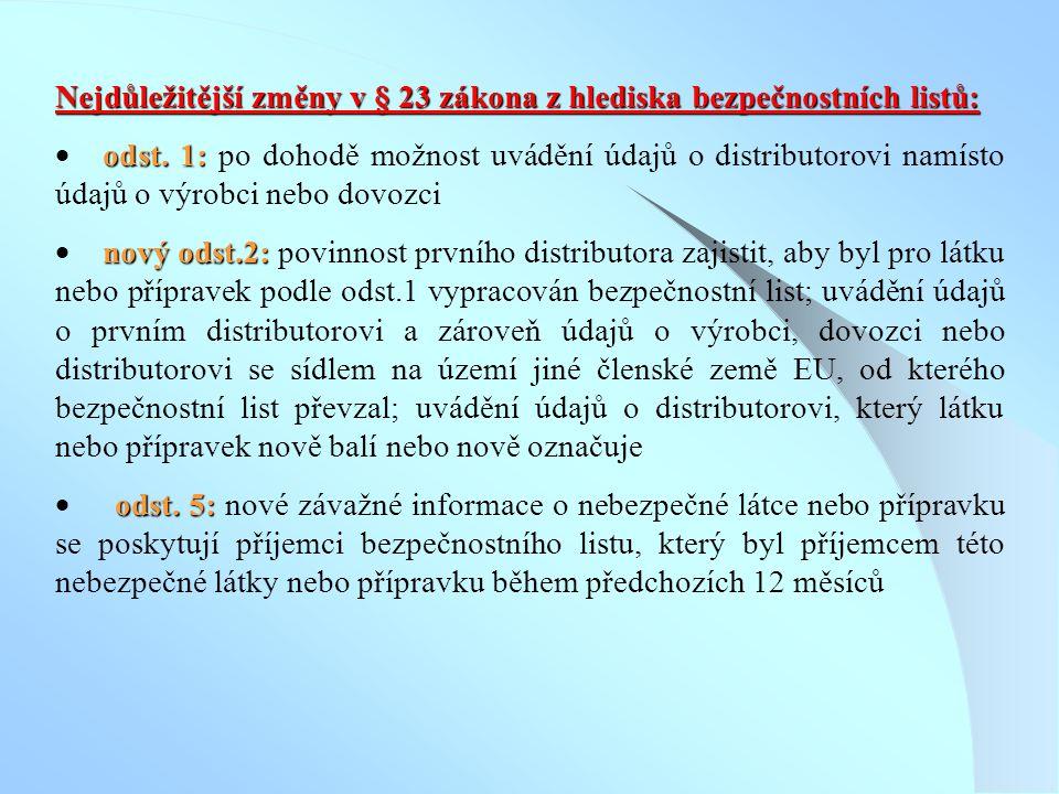 Nejdůležitější změny v § 23 zákona z hlediska bezpečnostních listů: odst. 1:  odst. 1: po dohodě možnost uvádění údajů o distributorovi namísto údajů