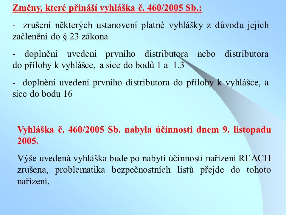 Změny, které přináší vyhláška č. 460/2005 Sb.: - zrušení některých ustanovení platné vyhlášky z důvodu jejich začlenění do § 23 zákona - doplnění uved