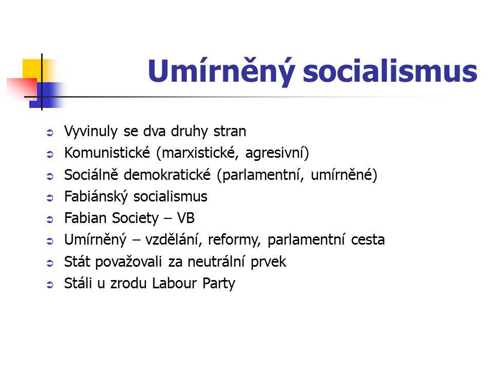 Umírněný socialismus  Vyvinuly se dva druhy stran  Komunistické (marxistické, agresivní)  Sociálně demokratické (parlamentní, umírněné)  Fabiánský socialismus  Fabian Society – VB  Umírněný – vzdělání, reformy, parlamentní cesta  Stát považovali za neutrální prvek  Stáli u zrodu Labour Party