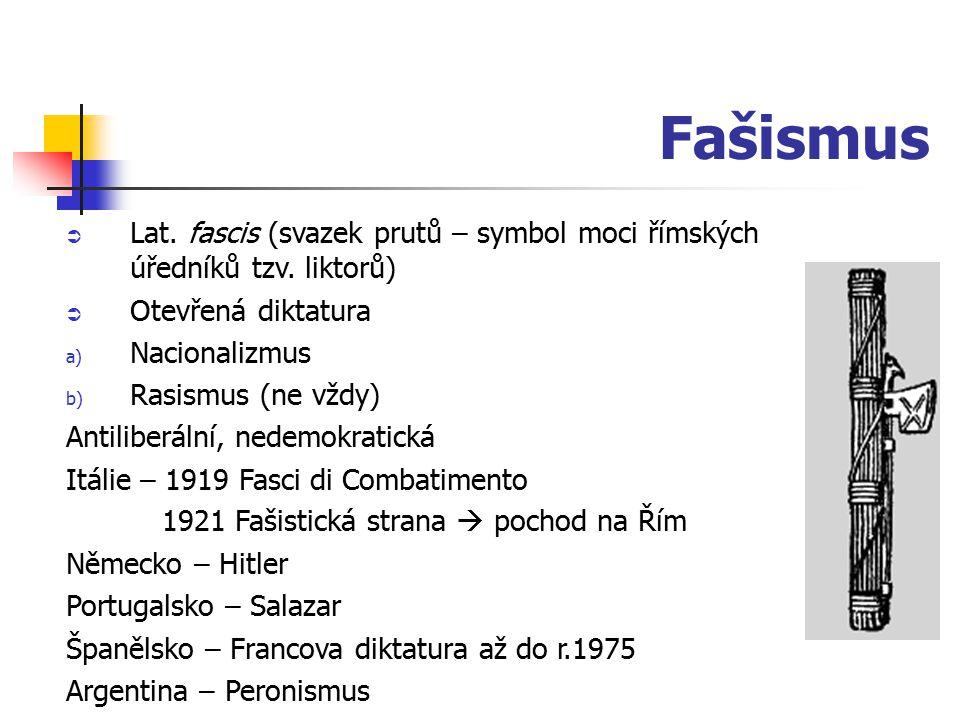 Fašismus  Lat. fascis (svazek prutů – symbol moci římských úředníků tzv. liktorů)  Otevřená diktatura a) Nacionalizmus b) Rasismus (ne vždy) Antilib