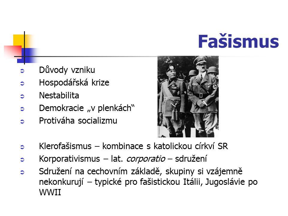 """Fašismus  Důvody vzniku  Hospodářská krize  Nestabilita  Demokracie """"v plenkách""""  Protiváha socializmu  Klerofašismus – kombinace s katolickou c"""