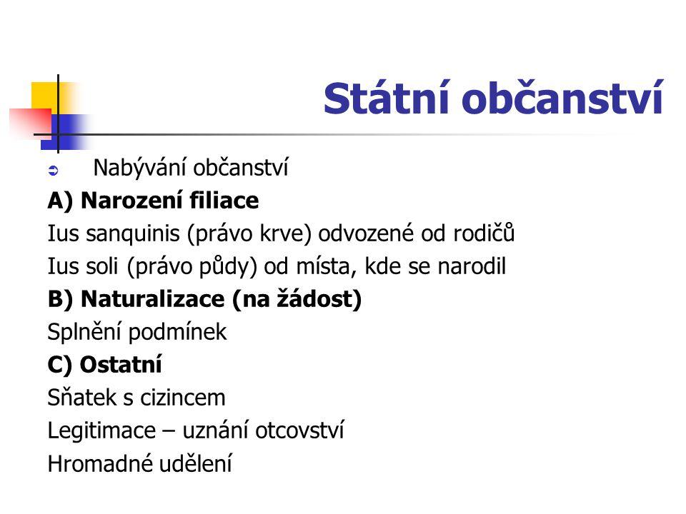 Státní občanství  Nabývání občanství A) Narození filiace Ius sanquinis (právo krve) odvozené od rodičů Ius soli (právo půdy) od místa, kde se narodil