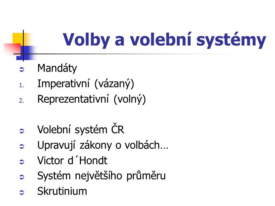 Volby a volební systémy  Mandáty 1. Imperativní (vázaný) 2.