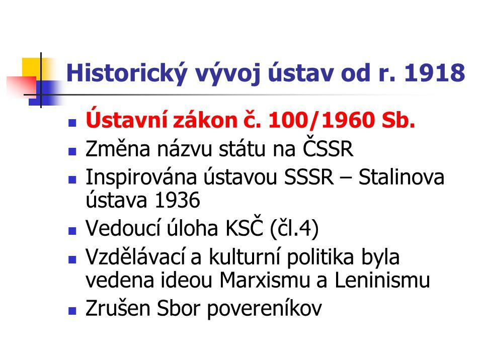 Historický vývoj ústav od r. 1918 Ústavní zákon č. 100/1960 Sb. Změna názvu státu na ČSSR Inspirována ústavou SSSR – Stalinova ústava 1936 Vedoucí úlo