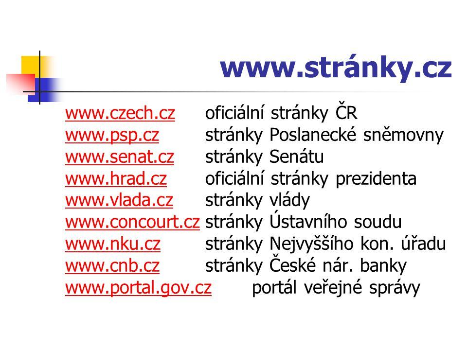 www.stránky.cz www.czech.czwww.czech.cz oficiální stránky ČR www.psp.czwww.psp.cz stránky Poslanecké sněmovny www.senat.czwww.senat.czstránky Senátu w