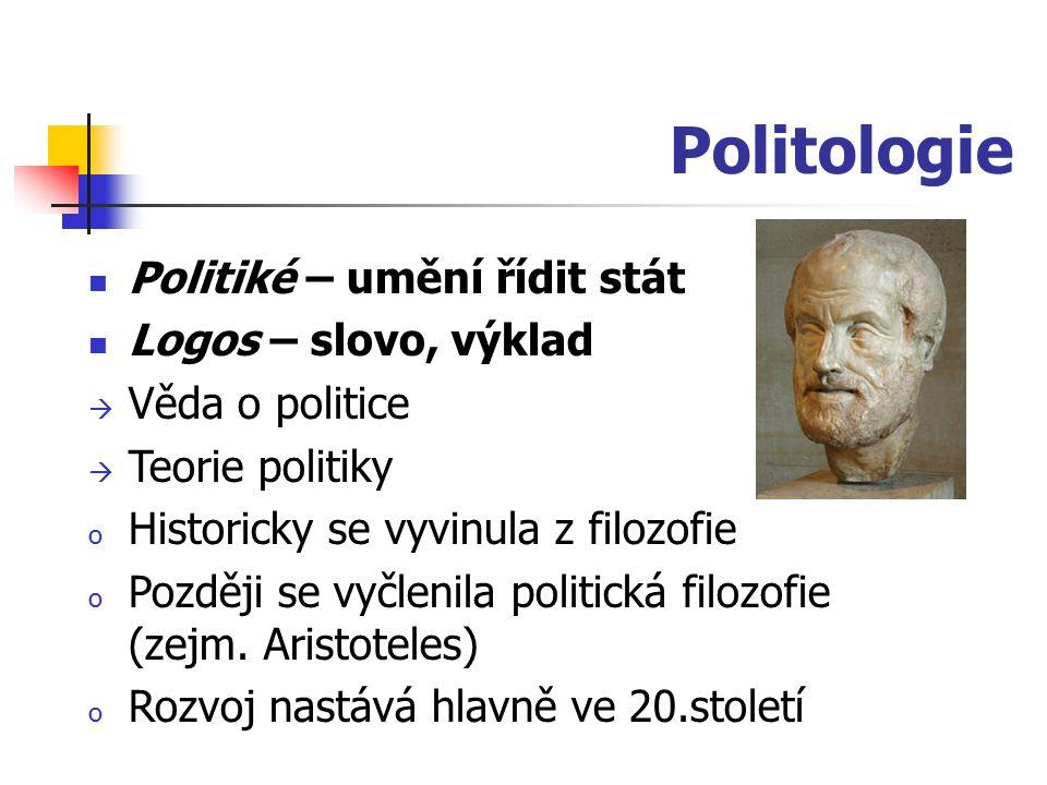 Politologie Politiké – umění řídit stát Logos – slovo, výklad  Věda o politice  Teorie politiky o Historicky se vyvinula z filozofie o Později se vy