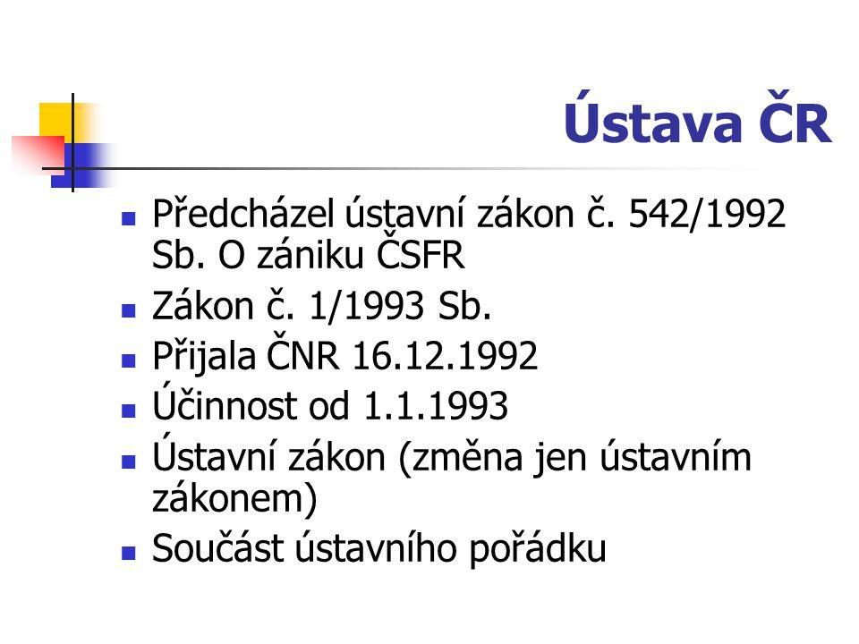 Ústava ČR Předcházel ústavní zákon č. 542/1992 Sb.