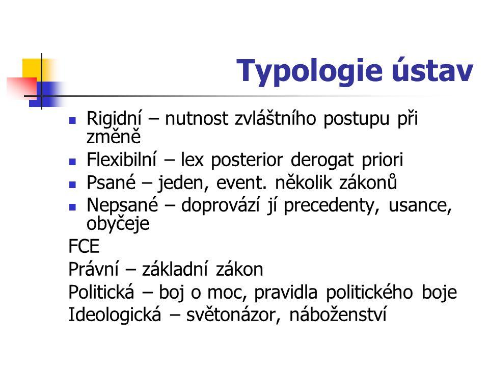 Typologie ústav Rigidní – nutnost zvláštního postupu při změně Flexibilní – lex posterior derogat priori Psané – jeden, event. několik zákonů Nepsané