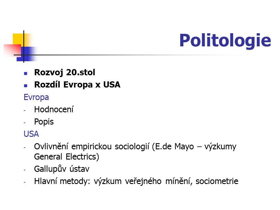 Politologie Rozvoj 20.stol Rozdíl Evropa x USA Evropa - Hodnocení - Popis USA - Ovlivnění empirickou sociologií (E.de Mayo – výzkumy General Electrics
