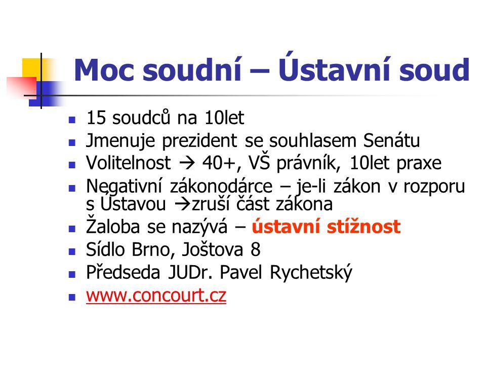 Moc soudní – Ústavní soud 15 soudců na 10let Jmenuje prezident se souhlasem Senátu Volitelnost  40+, VŠ právník, 10let praxe Negativní zákonodárce – je-li zákon v rozporu s Ústavou  zruší část zákona Žaloba se nazývá – ústavní stížnost Sídlo Brno, Joštova 8 Předseda JUDr.