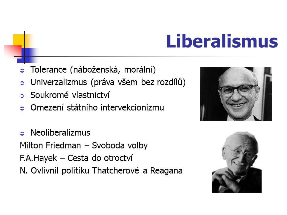 Liberalismus  Tolerance (náboženská, morální)  Univerzalizmus (práva všem bez rozdílů)  Soukromé vlastnictví  Omezení státního intervekcionizmu  Neoliberalizmus Milton Friedman – Svoboda volby F.A.Hayek – Cesta do otroctví N.