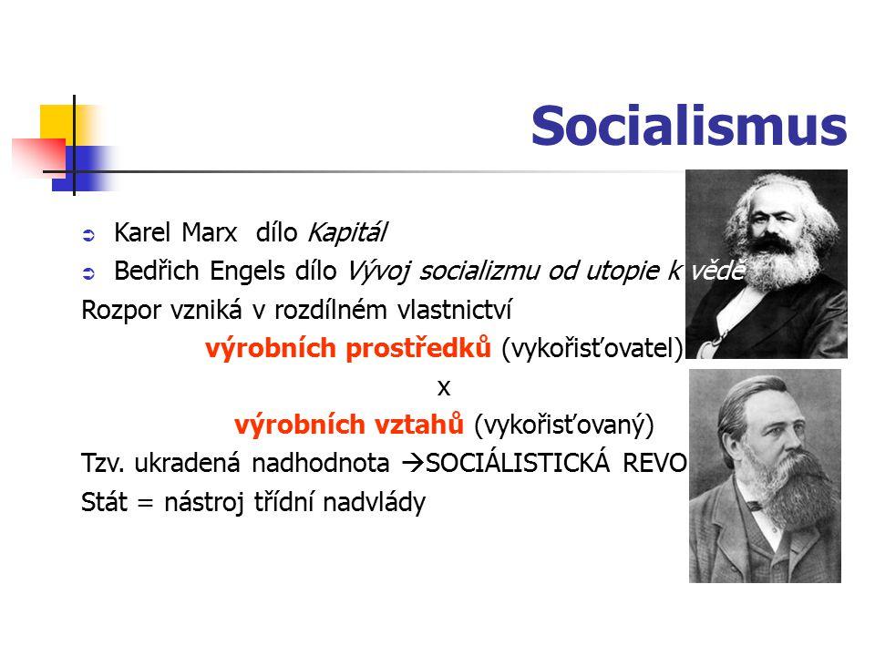Socialismus  Karel Marxdílo Kapitál  Bedřich Engels dílo Vývoj socializmu od utopie k vědě Rozpor vzniká v rozdílném vlastnictví výrobních prostředků (vykořisťovatel) x výrobních vztahů (vykořisťovaný) Tzv.