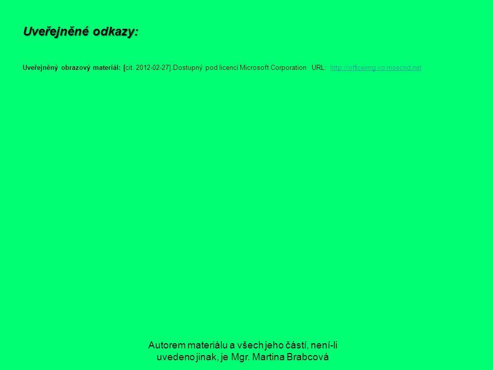Uveřejněné odkazy: Uveřejněný obrazový materiál: [cit. 2012-02-27].Dostupný pod licencí Microsoft Corporation URL: http://officeimg.vo.msecnd.nethttp: