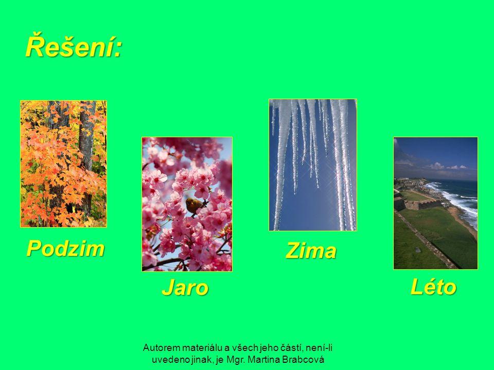 Autorem materiálu a všech jeho částí, není-li uvedeno jinak, je Mgr. Martina Brabcová Řešení: Jaro Podzim Zima Léto