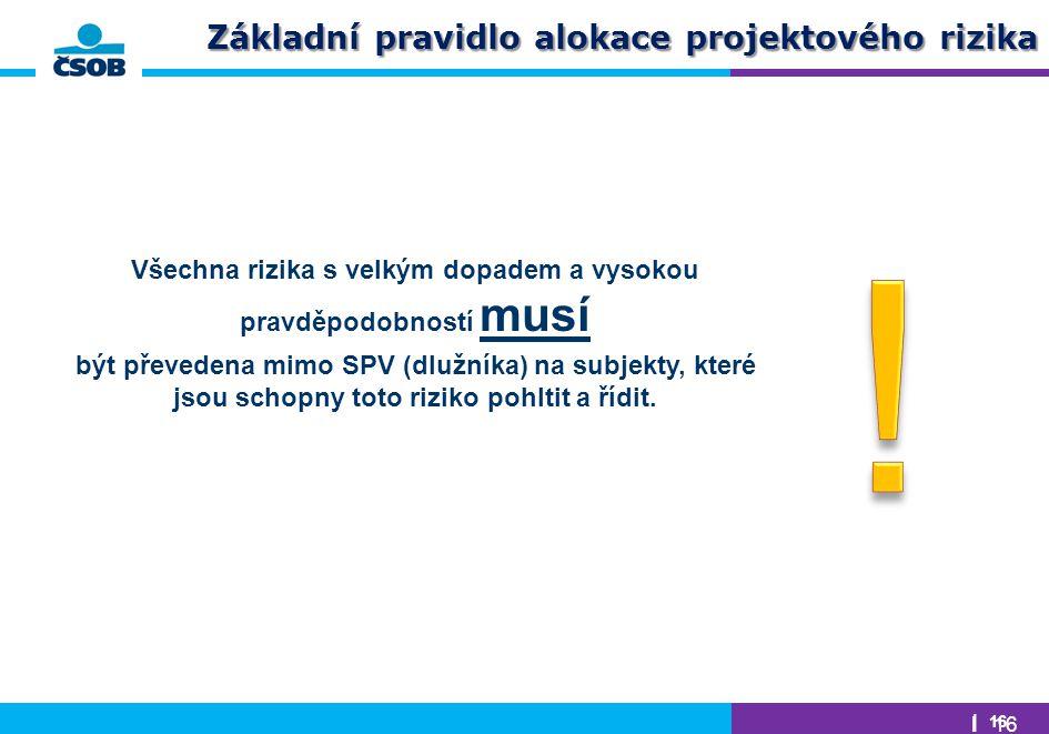 | 16 Základní pravidlo alokace projektového rizika Všechna rizika s velkým dopadem a vysokou pravděpodobností musí být převedena mimo SPV (dlužníka) n
