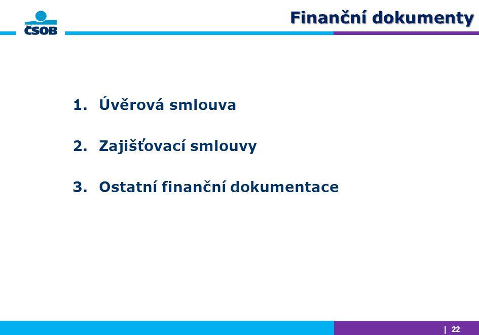 | 22 Finanční dokumenty 1.Úvěrová smlouva 2.Zajišťovací smlouvy 3.Ostatní finanční dokumentace