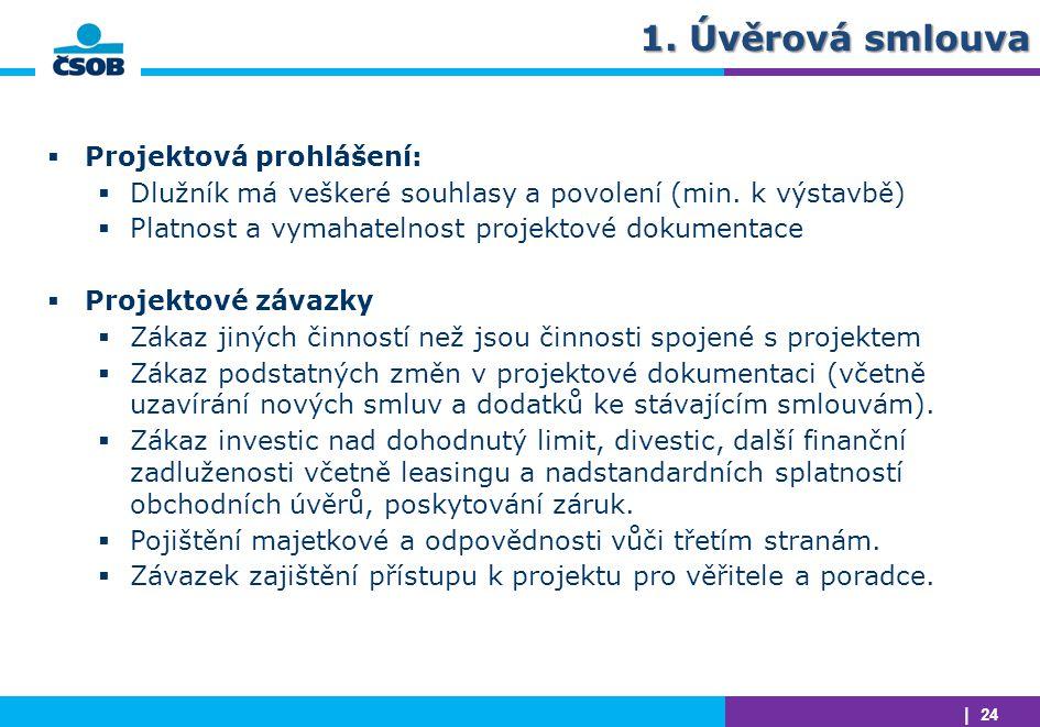 | 24 1. Úvěrová smlouva  Projektová prohlášení:  Dlužník má veškeré souhlasy a povolení (min. k výstavbě)  Platnost a vymahatelnost projektové doku