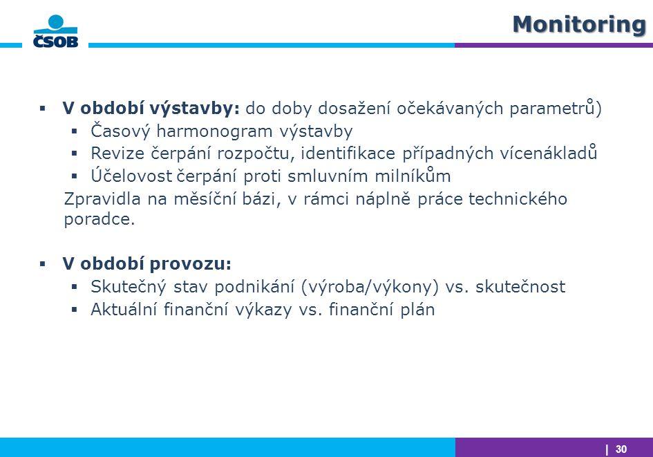 | 30Monitoring  V období výstavby: do doby dosažení očekávaných parametrů)  Časový harmonogram výstavby  Revize čerpání rozpočtu, identifikace příp