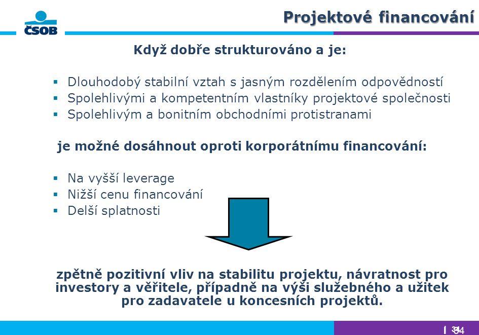 | 34 Když dobře strukturováno a je:  Dlouhodobý stabilní vztah s jasným rozdělením odpovědností  Spolehlivými a kompetentním vlastníky projektové sp