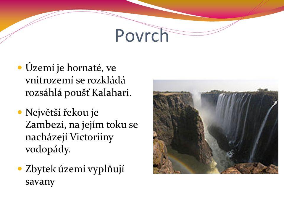 Povrch Území je hornaté, ve vnitrozemí se rozkládá rozsáhlá poušť Kalahari. Největší řekou je Zambezi, na jejím toku se nacházejí Victoriiny vodopády.