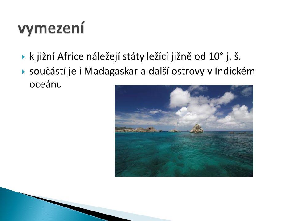  k jižní Africe náležejí státy ležící jižně od 10° j.