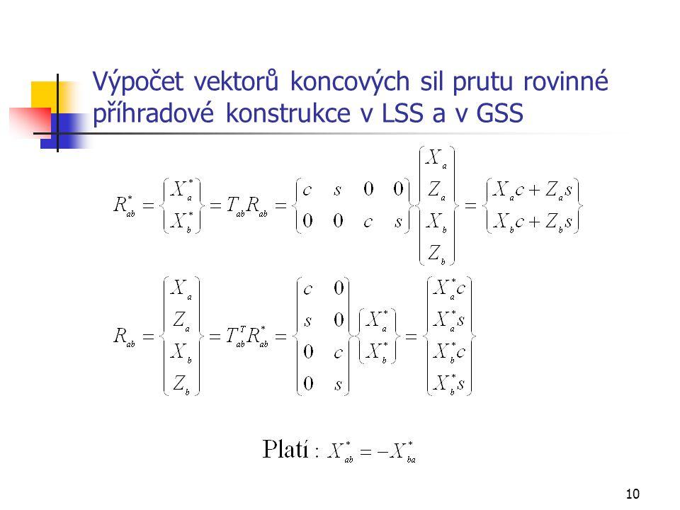 10 Výpočet vektorů koncových sil prutu rovinné příhradové konstrukce v LSS a v GSS