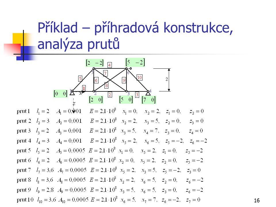 16 Příklad – příhradová konstrukce, analýza prutů
