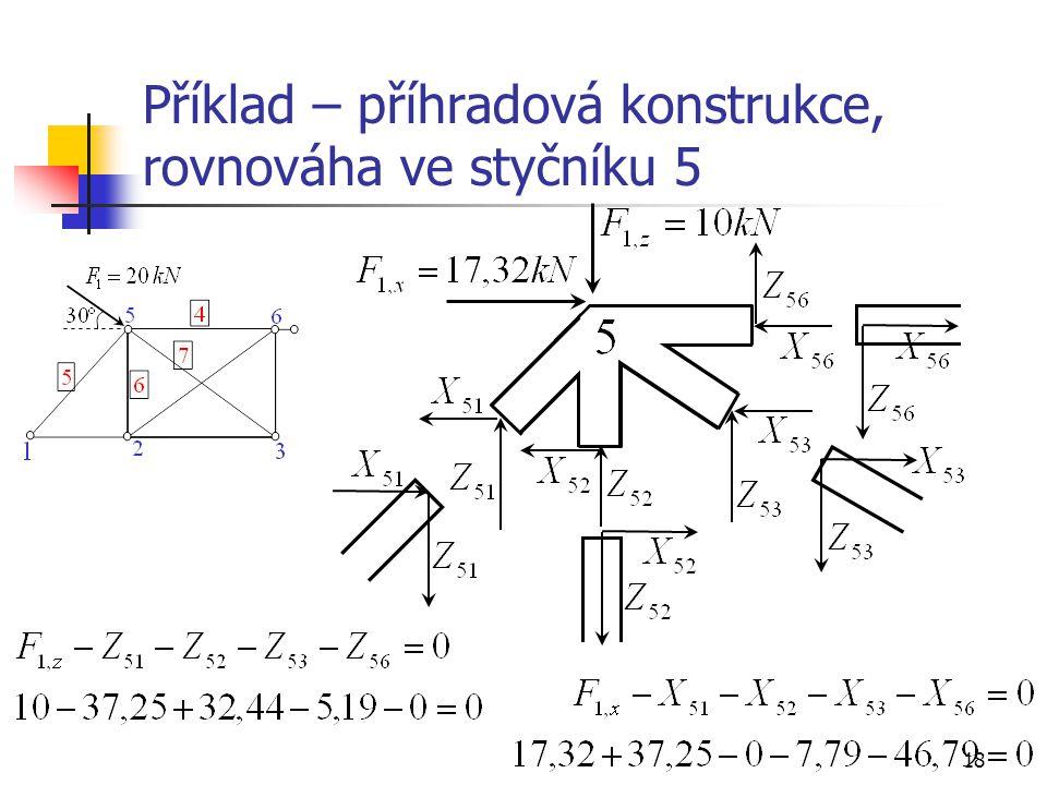 18 Příklad – příhradová konstrukce, rovnováha ve styčníku 5