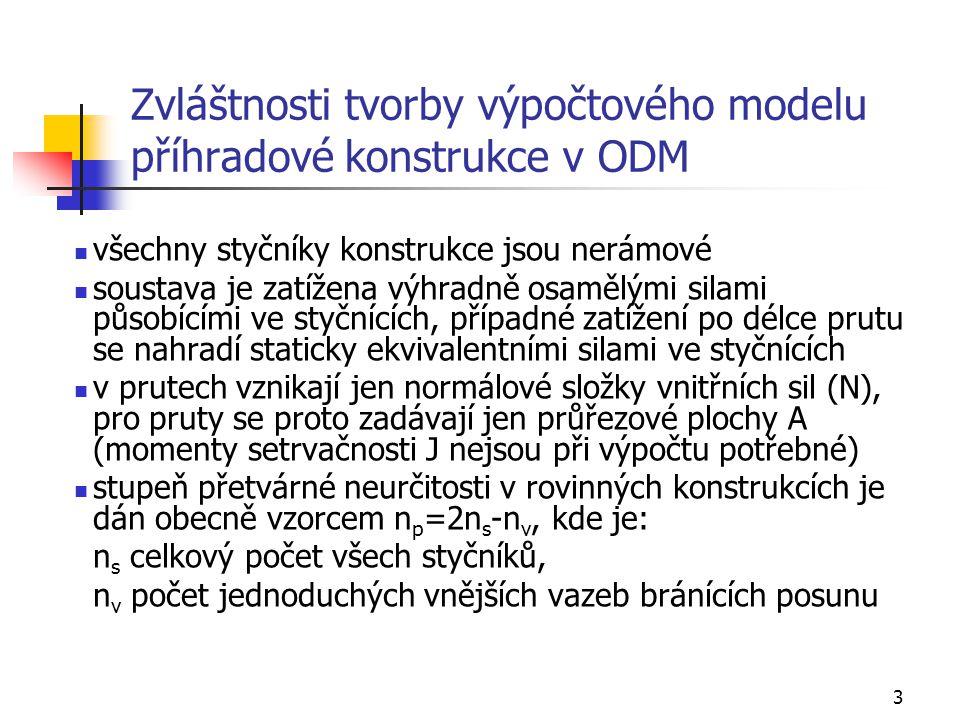 3 Zvláštnosti tvorby výpočtového modelu příhradové konstrukce v ODM všechny styčníky konstrukce jsou nerámové soustava je zatížena výhradně osamělými