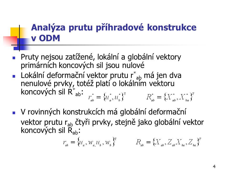 4 Analýza prutu příhradové konstrukce v ODM Pruty nejsou zatížené, lokální a globální vektory primárních koncových sil jsou nulové Lokální deformační