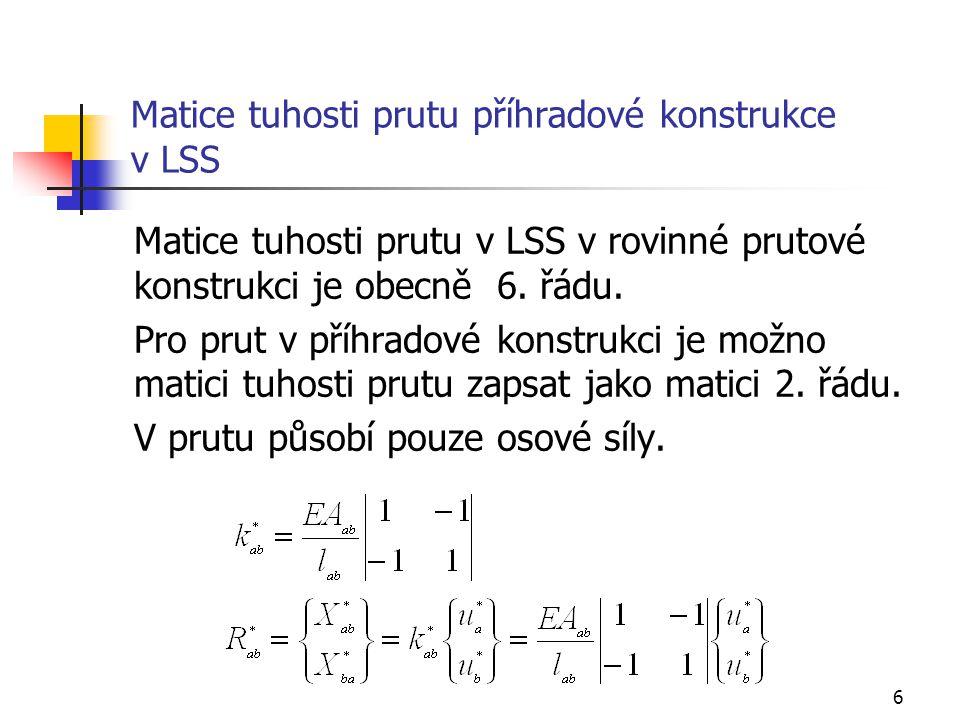 6 Matice tuhosti prutu příhradové konstrukce v LSS Matice tuhosti prutu v LSS v rovinné prutové konstrukci je obecně 6. řádu. Pro prut v příhradové ko