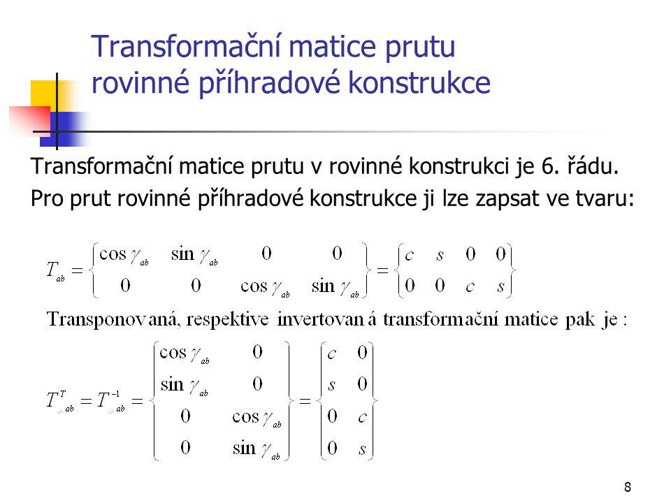 8 Transformační matice prutu rovinné příhradové konstrukce Transformační matice prutu v rovinné konstrukci je 6. řádu. Pro prut rovinné příhradové kon
