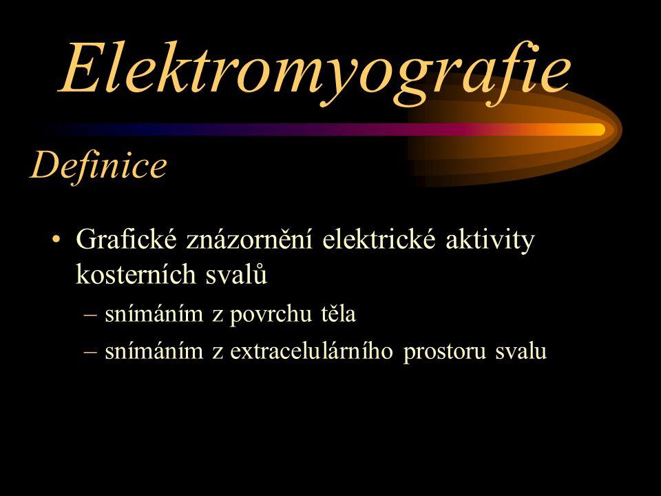 Definice Grafické znázornění elektrické aktivity kosterních svalů –snímáním z povrchu těla –snímáním z extracelulárního prostoru svalu Elektromyografie