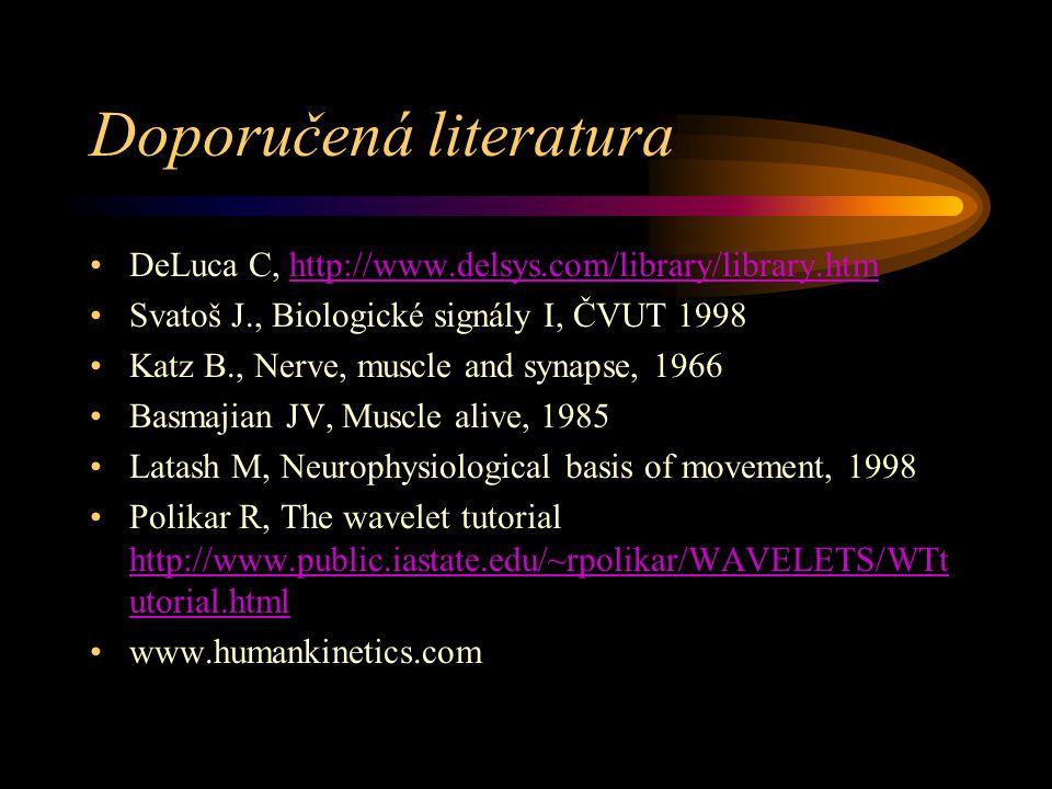 Doporučená literatura DeLuca C, http://www.delsys.com/library/library.htmhttp://www.delsys.com/library/library.htm Svatoš J., Biologické signály I, ČVUT 1998 Katz B., Nerve, muscle and synapse, 1966 Basmajian JV, Muscle alive, 1985 Latash M, Neurophysiological basis of movement, 1998 Polikar R, The wavelet tutorial http://www.public.iastate.edu/~rpolikar/WAVELETS/WTt utorial.html http://www.public.iastate.edu/~rpolikar/WAVELETS/WTt utorial.html www.humankinetics.com