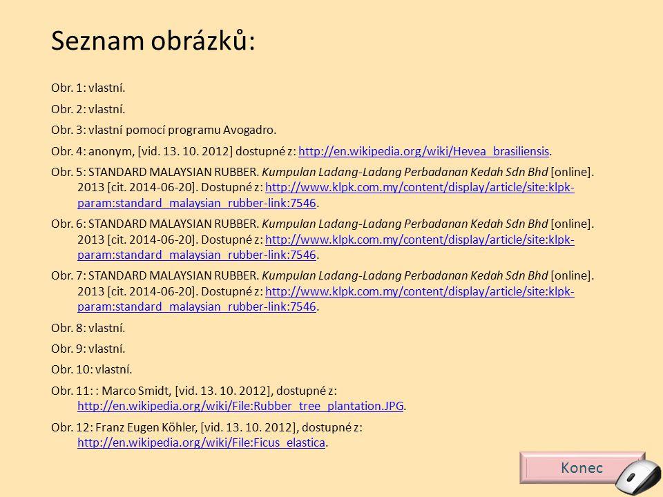 Konec Seznam obrázků: Obr. 1: vlastní. Obr. 2: vlastní. Obr. 3: vlastní pomocí programu Avogadro. Obr. 4: anonym, [vid. 13. 10. 2012] dostupné z: http
