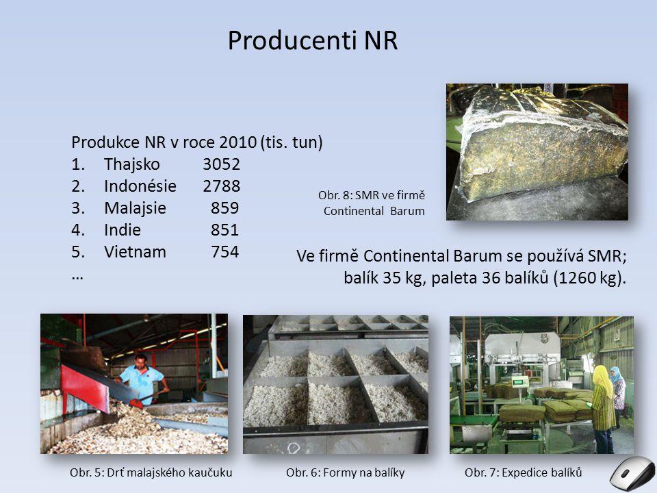 Producenti NR Produkce NR v roce 2010 (tis. tun) 1.Thajsko3052 2.Indonésie2788 3.Malajsie 859 4.Indie 851 5.Vietnam 754 … Ve firmě Continental Barum s