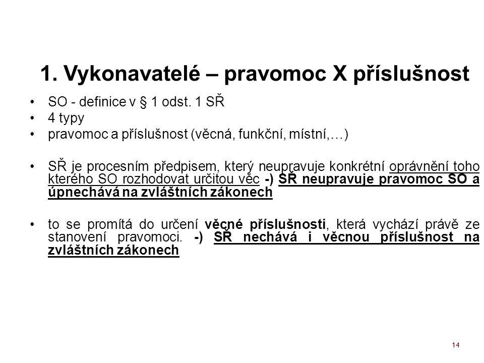14 1. Vykonavatelé – pravomoc X příslušnost SO - definice v § 1 odst.