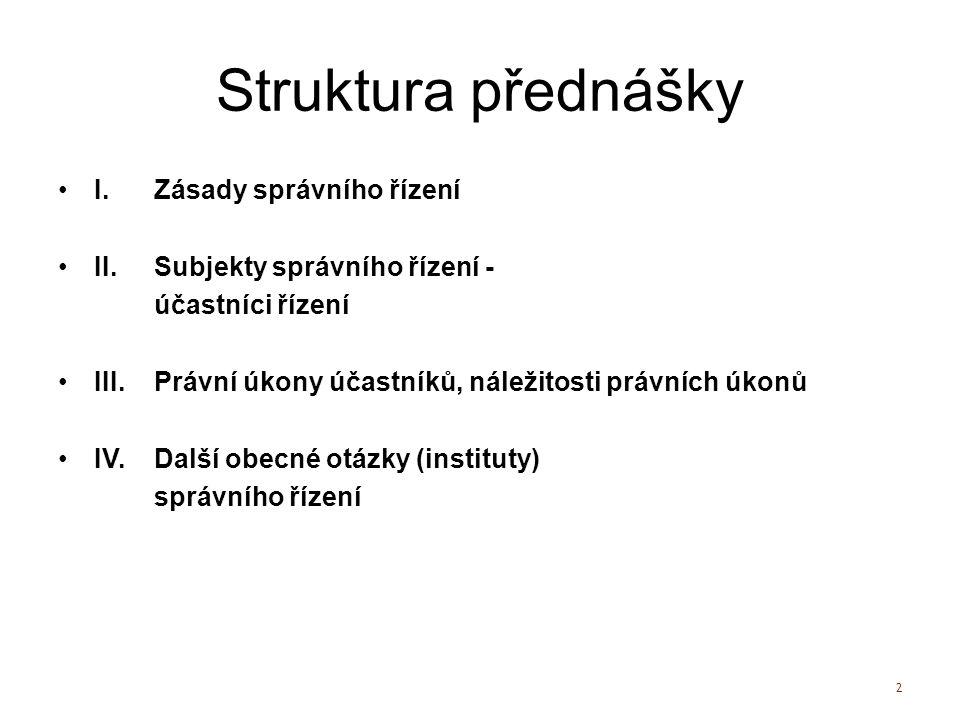 Struktura přednášky I. Zásady správního řízení II.
