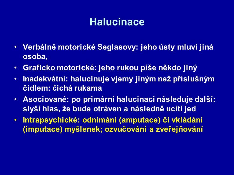 Halucinace Verbálně motorické Seglasovy: jeho ústy mluví jiná osoba, Graficko motorické: jeho rukou píše někdo jiný Inadekvátní: halucinuje vjemy jiný