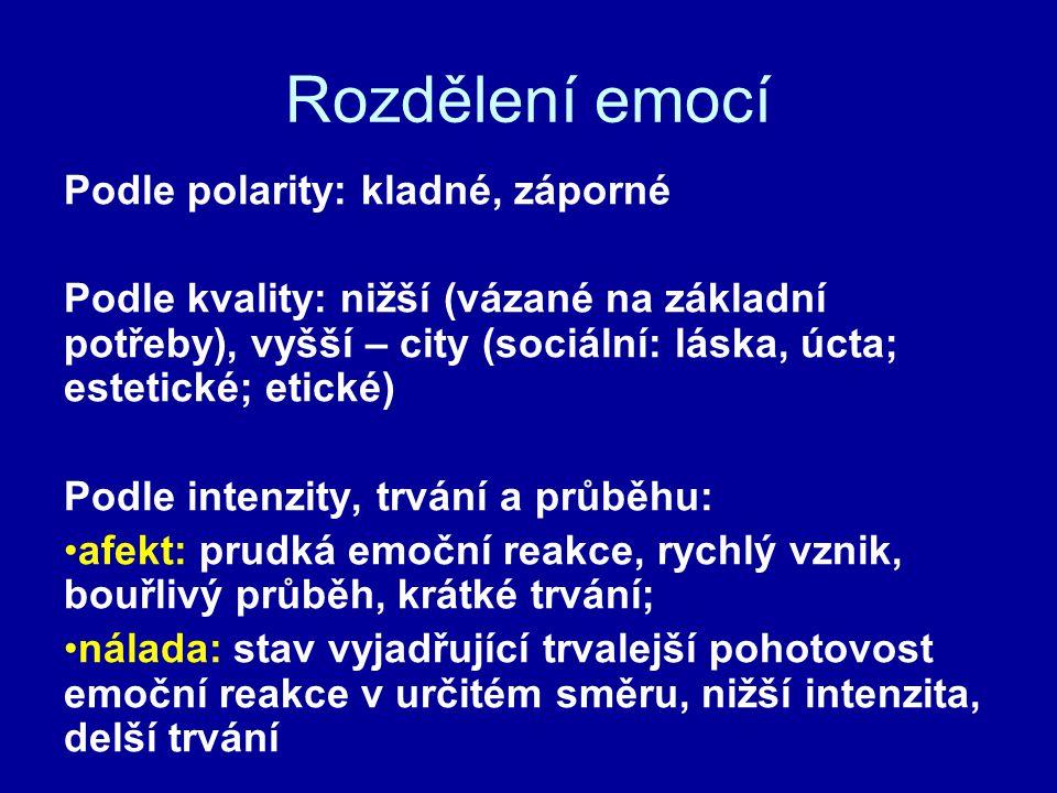 Rozdělení emocí Podle polarity: kladné, záporné Podle kvality: nižší (vázané na základní potřeby), vyšší – city (sociální: láska, úcta; estetické; eti