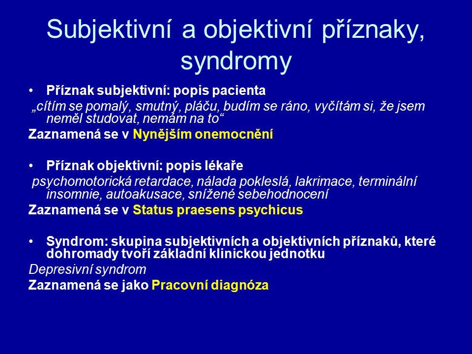 """Subjektivní a objektivní příznaky, syndromy Příznak subjektivní: popis pacienta """"cítím se pomalý, smutný, pláču, budím se ráno, vyčítám si, že jsem ne"""