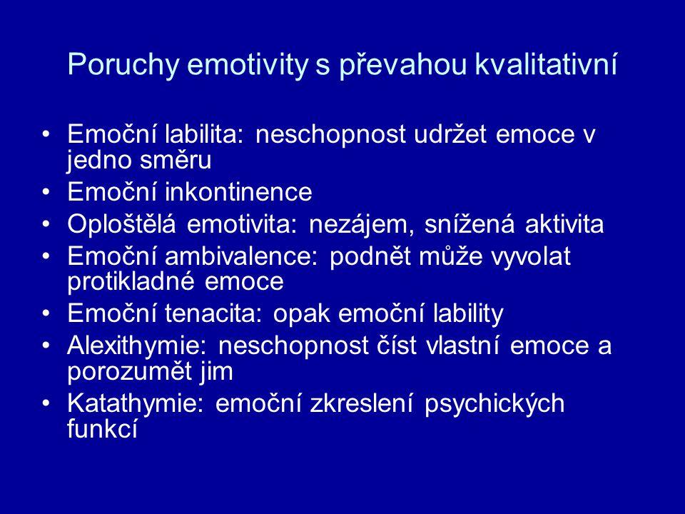 Poruchy emotivity s převahou kvalitativní Emoční labilita: neschopnost udržet emoce v jedno směru Emoční inkontinence Oploštělá emotivita: nezájem, sn