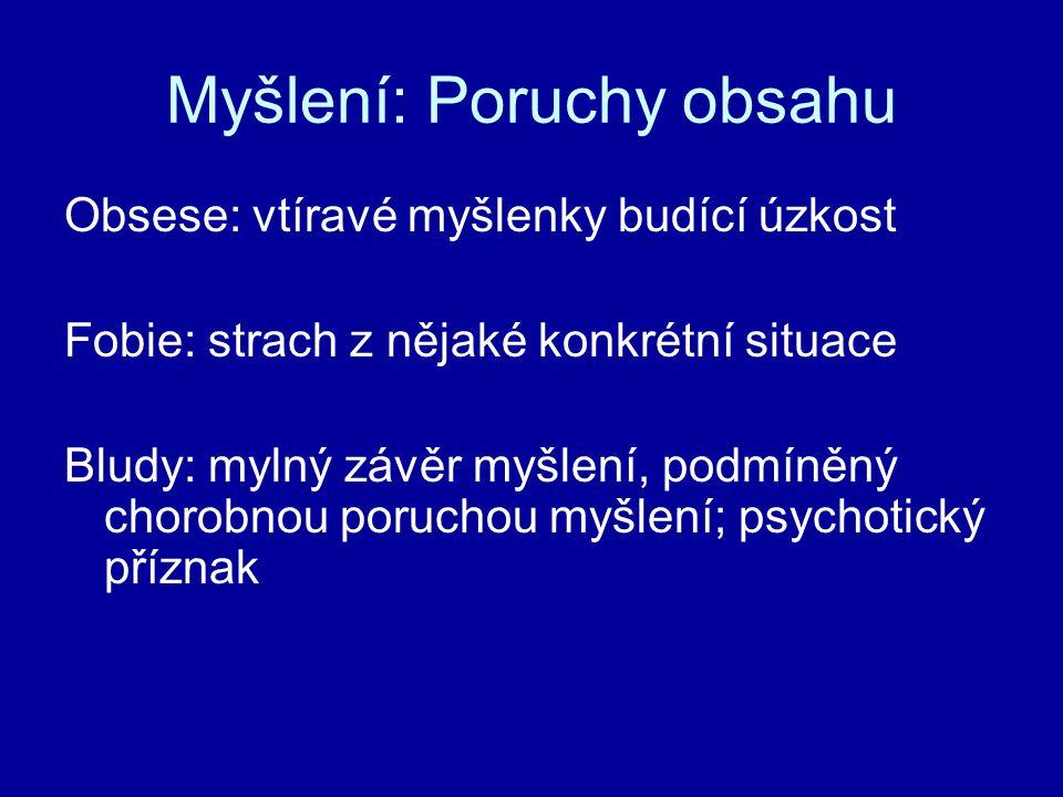 Myšlení: Poruchy obsahu Obsese: vtíravé myšlenky budící úzkost Fobie: strach z nějaké konkrétní situace Bludy: mylný závěr myšlení, podmíněný chorobno