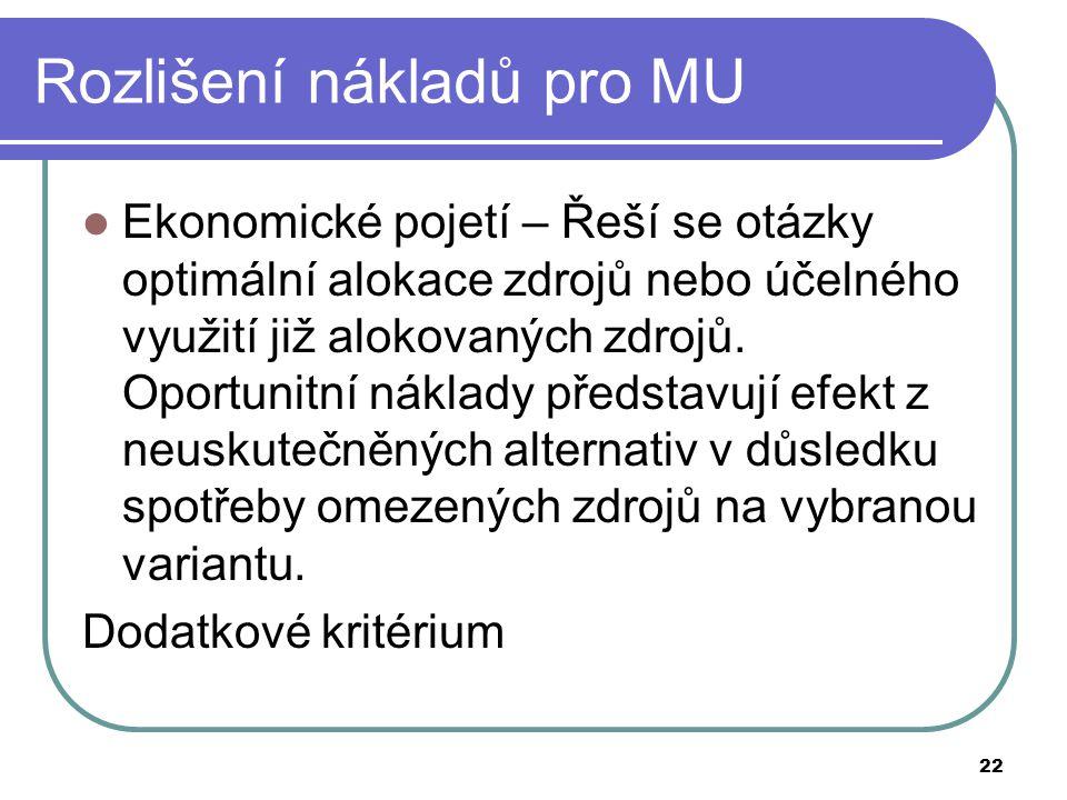 22 Rozlišení nákladů pro MU Ekonomické pojetí – Řeší se otázky optimální alokace zdrojů nebo účelného využití již alokovaných zdrojů.