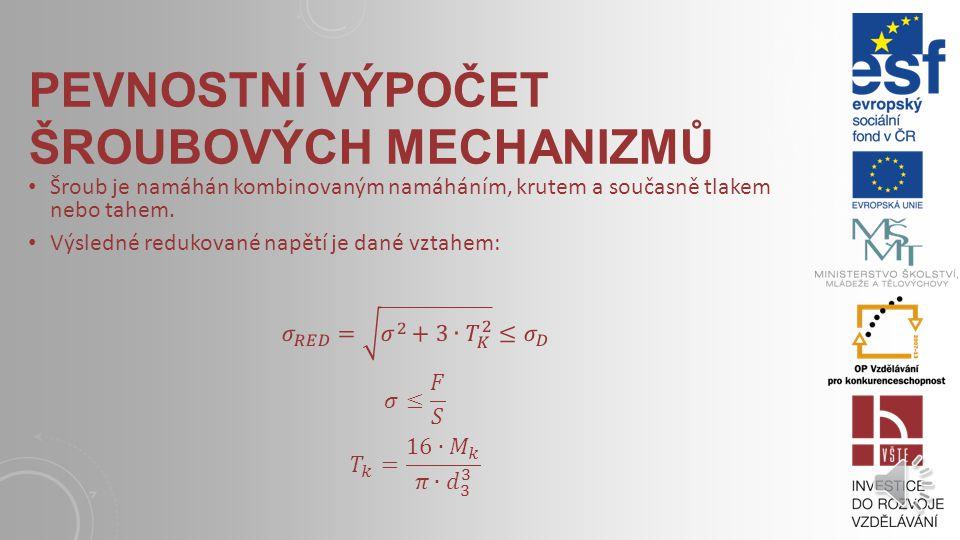 ROZDĚLENÍ ŠROUBOVÝCH MECHANISMŮ Mechanismus s otočnou maticí a posuvným šroubem – šroubový zvedák (hever) Mechanismus s otočným šroubem a posuvnou maticí – strojní svěrák, pohybové ústrojí obráběcích strojů Mechanismus s otočným šroubem a pevnou maticí – šroubové (vřetenové) lisy Mechanismus s posuvnou maticí a otočným šroubem – svidřík, používá se pro pohon mazacích čerpadel poháněných pohybem stolu.