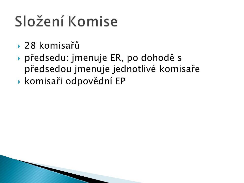  28 komisařů  předsedu: jmenuje ER, po dohodě s předsedou jmenuje jednotlivé komisaře  komisaři odpovědní EP